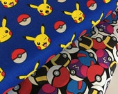 Pokemon fabric,  Pokemon Go fabric bundle by Robert Kaufman, Pokemon gift, Pikachu, Pokeballs- Fabric Bundle of 2, Choose The Cuts