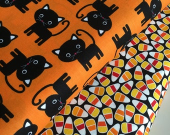 Halloween fabric, Halloween Candy fabric bundle by Ann Kelle, Fall Fabric, Cat Fabric, Halloween fabric- Fabric Bundle of 2, Choose The Cuts