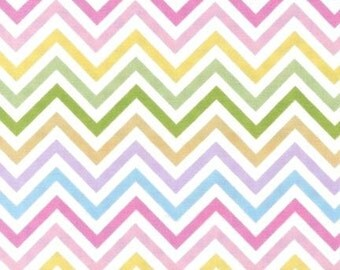 Chevron Fabric, Remix Fabric, Cotton Fabric, Spring fabric, Easter Fabric, Chevron in Spring- Choose your cut, Free Shipping Available