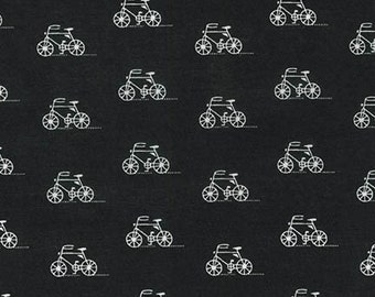 SALE fabric, Scarf fabric, Lightweight fabric, Hipster fabric, LAWN fabric by Robert Kaufman- Bike fabric, Bicycle in Black- Choose your cut