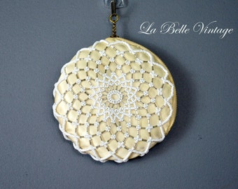 Vintage 1940s Round Beaded Purse ~ Ivory Satin Change Purse