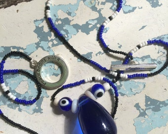 TRUE BLUE...vintage cobalt blue tear drop ~ glass beads ~ Turkish eye see all ~ blue black white ~ toggle with message ~ smile