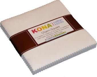 "White Kona Solids Robert Kaufman Charm Pack, 42 - 100 % cotton 5"" precut fabric quilt squares"