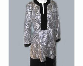 SALE 1960's British Hong Kong Metallic Silver Dress