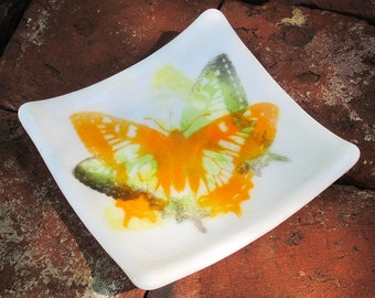 Multicolored Fused Glass Butterfly Square Trinket Dish
