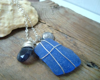 Deep Blue Sea - Silver Clam Shell and Sea Glass Necklace With Iolite Silver Jewelry Beachy Summer Jewelry Gemstone Bridesmaid Necklace