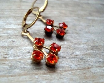 Orange Red Rhinestone Earrings Vintage Style Bridesmaid Brass Jewelry Mothers Day Jewelry Holiday Jewelry Fall Earrings Gifts Under 20