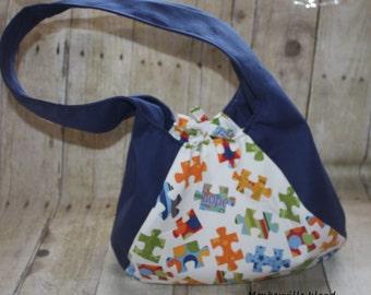 Autism Puzzle Blue Hobo Bag