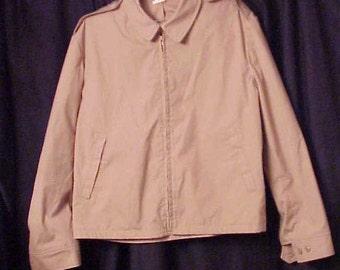 1980s USN US Navy service windbreaker, jacket, tan (khaki) color Creighton product, size 42R
