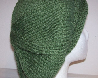 Rolled Brim Wool Tam - Slouchy Knit Beret - Knitted Dreadlock Tam - Eucalyptus Green