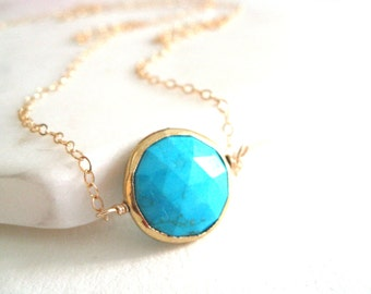 Turquoise necklace Gold December birthstone Vermeil gold choker necklace Gift for her under 75