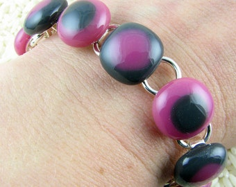 Pink and Grey Glass Bracelet / Fused Glass Bracelet / Modern Jewelry / Casual Bracelet / Trendy Jewelry / Handmade in Texas