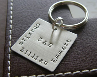 "Custom Keychain - Personalized Hand Stamped Sterling Silver - 1"" Square Key Chain - Perfect Gift for Father's Day"