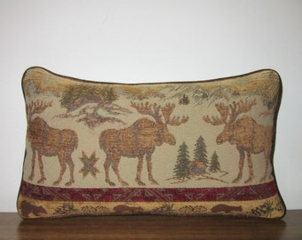 Moose Tapestry Lumbar Pillow Decorator Soft Comfy Textured Chenille Cabin Lodge Decor Woodlands