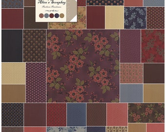 "SQ37 Moda ALICE'S SCRAPBAG Precut 5"" Charm Pack Fabric Quilting Cotton Squares Barbara Brackman 8310PP"