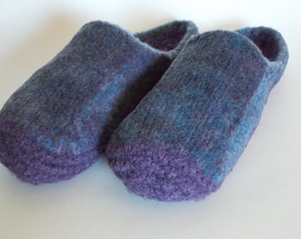 Wool Knit Felted Slippers, US Women's Sz 9