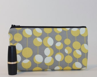 Compact Divided Cosmetic Bag - 2 Compartments - Mustard Martini