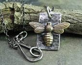 Bee pendant with Rainbow Moonstone