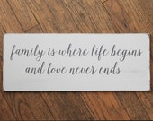 Family is Where Life Begins Wood Sign, Hand Painted, Farmhouse, Vintage Style, Shabby Worn Finish