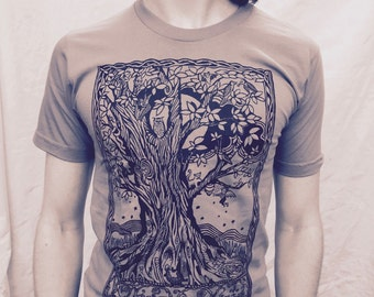 Moon Tree Eclipse Tshirt Gray Cotton Made in USA Unisex S M L  2X