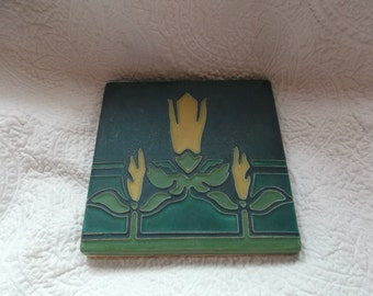 "Lovely Hand-Crafted MOTAWI Tile Works Ceramic Arts & Crafts Style Tile  Entitled ""SWEET PEA"""