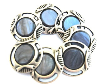6 Vintage buttons 28mm unique blue shade plastic on silver color metal base