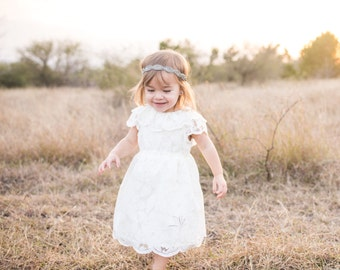Ivory Rose Lace Dress, Toddler and Girl Special Occasion, 1st Communion, Flower Girl Dress