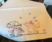 """Whimsical Hand Embroidered Towel Puppies 17"""" X 22"""" T902"""