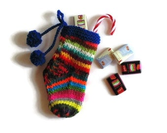 Colorful Stocking, Christmas Stocking, Stocking Stuffer, Color Stripes, Wool Socks, Pom Pom Socks, Blue and Color Sock, Christmas Decoration