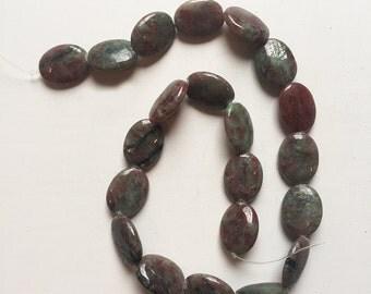 20 x 15mm Puff Oval Kashgar Garnet Beads