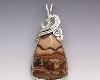 Mexican Dunes Wave Rolling Hills Dolomite Sterling Silver Wire Wrapped Pendant - Ready to Ship!