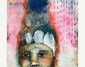 rain, abstract mixed media folk art by mystele
