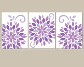 Purple Nursery Wall Art, Baby Girl Nursery Artwork, Canvas or Prints Lilac Bedroom Pictures, Flower Burst, Dahlia Set of 3 Crib Decor