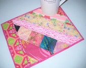 Quilted Mug Rug Snack Mat Candle Mat Plant Mat Large Coaster Table Mini-Mat Basket Liner XL Hot Pad - Hostess Gift - Pink, Lime, Yellow