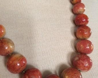 Vintage Sponge Coral Graduated Beaded Necklace
