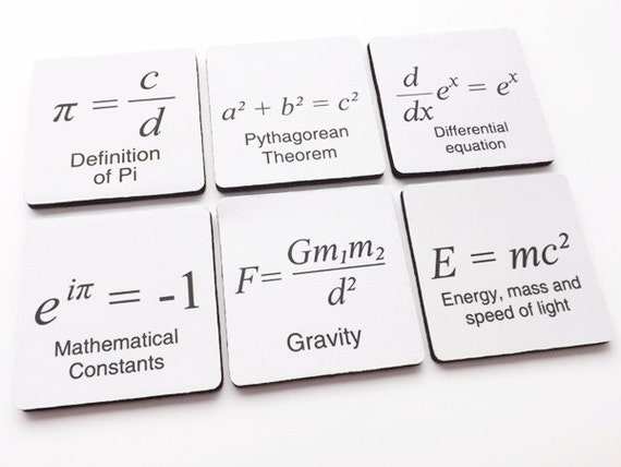 Math Formula COASTERS graduation gift arithmetic pi father's day relativity mathmatics science teacher party geekery college back to school