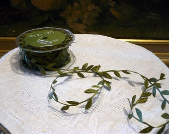 Bolt of Ribbon Green Leaf Vine Leaves 30 Yards