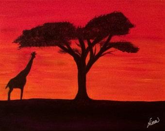Original acrylic wrap around canvas sunset giraffe tree red orange white yellow blue purple 12 in. x 9 in.