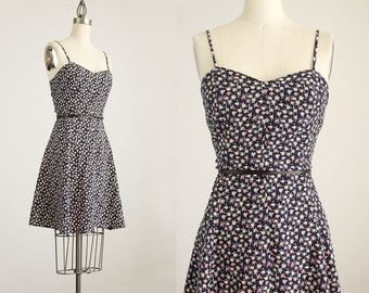 20% Off With Coupon Code! 90s Vintage Navy Blue Floral Print Mini Sun Dress / Size Small / Medium
