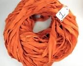 Sari Silk ribbon, Recycled Silk ribbon, Chiffon Sari Ribbon, Harvest Orange sari ribbon, orange sari ribbon, chiffon ribbon, fall ribbon
