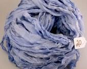 Sari silk ribbon, Silk Chiffon sari ribbon, Recycled Silk Sari Ribbon,  periwinkle ribbon