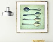 Spoon still life photograph / silver vintage spoons / kitchen wall art / antique silverware / seafoam mint green / retro kitchen print