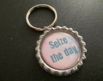 ONE 'Seize the day' Bottle Cap Charm Keychain