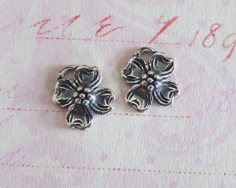 NEW 2 Tiny Silver Flower Charms 3742