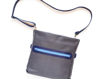 Leather Crossbody Bag for Women, Small Purse, Convertible Bag - The Abby Satchel in Dark Slate Grey