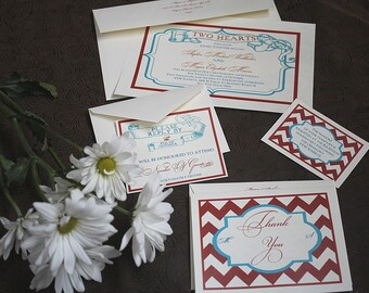 pkg 50 with wedding invitations, reception, response, thank you cards Americana Boardwalk style hearts chevron Nautical LOVE red white blue