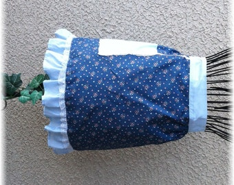 BLUE FLORAL APRON with Ruffle