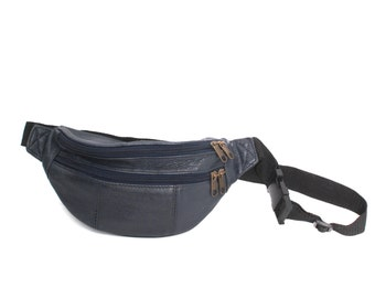 GRUNGE navy blue leather 80s 90s FANNY PACK zip up buckle hiking belt bag purse