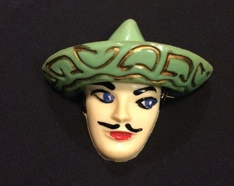 Vintage Old Plastic Brooch Mexican Man wearing a Sombrero Celluloid Jewelry