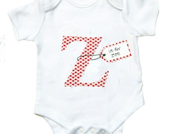 Personalized  Alphabet Babygro / Personalised Letter  Babygrow / All in One / New Baby Gift / Children's Clothes / Baby Shirt